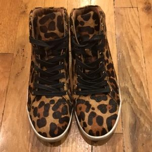 Joie Leopard Print Calf Hair Sneakers size 38